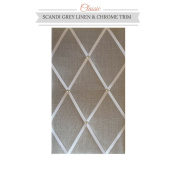 Classic Size Light Grey Linen Memo Board with Chrome Studwork