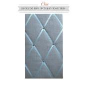 Classic Size Duck Egg Blue Linen Memo Board with Chrome Studwork