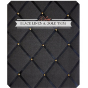 X Large Size Black Linen Memo Board with Gold Studwork