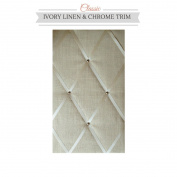 Classic Size Ivory Linen Memo Board with Chrome Studwork