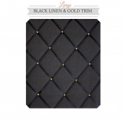 Large Size Black Linen Memo Board with Gold Studwork