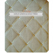 X Large Size Gold Linen Memo Board with Gold Studwork