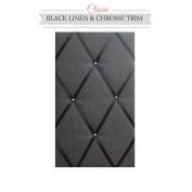 Classic Size Black Linen Memo Board with Chrome Studwork