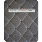 X Large Size Dark Grey Linen Memo Board with Chrome Studwork