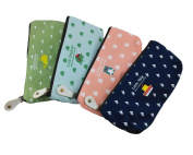 Honbay 4pcs Colourful Lovely Animal Pastorable Canvas Pen Pencil Stationery Pouch Bag Case