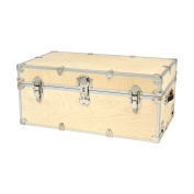 SecureOnCampus College Dorm Storage Trunks / Footlockers Large 80cm L x 46cm W x 36cm H- Birch Wood