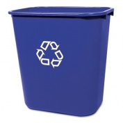 Rubbermaid Deskside Recycling Container - 26.6lCapacity - Rectangular - 15quot; Height x 10.3quot; Width x 14quot; Depth - Blue