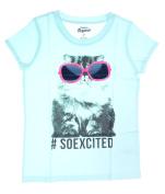 "Oshkosh Girl's Short Sleeve ""Kitty Graphic with Glitter Glasses; Blue"