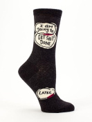 "Blue Q Women's Novelty Crew Socks ""I Am Going To Get Shit Done, Later"""