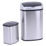 Costzon Set of 2 Touchless Trash Can 49.2 & 8.7l Automatic Motion Sensor Lid Stainless Steel