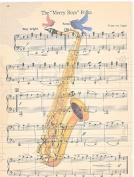 Art N Wordz Saxophone Birds Original Music Sheet Pop Art Wall or Desk Art Print Poster