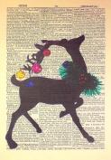 Art N Wordz Ornament Filled Reindeer Original Dictionary Sheet Pop Art Wall or Desk Art Print Poster