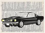 Art N Wordz Classic Black Mustang Car Original Dictionary Sheet Pop Art Wall or Desk Art Print Poster
