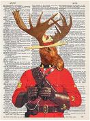 Art N Wordz Mounty Moose Ranger Original Dictionary Sheet Pop Art Wall or Desk Art Print Poster