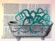 Art N Wordz Kraken Octopus in Tub Original Dictionary Sheet Pop Art Wall or Desk Art Print Poster