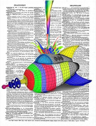 Art N Wordz Crayon Rocket Rainbow Blast Spaceshuttle Original Dictionary Sheet Pop Art Wall or Desk Art Print Poster