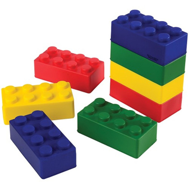 Assorted Colour Foam Building Block Inspired Stress Squeeze Toys (12)