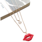 Fashion Sweater Pendants Red Lips Long Sweater Chain Necklace Pendant Clothes Accessory