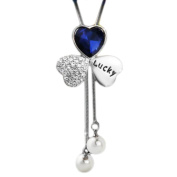 Fashion Clothes Accessory Sweater Pendants Lucky Leaves Crystal Long Sweater Chain Pendant Necklace