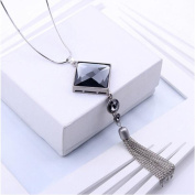 Fashion Sweater Pendants Clothes Accessory Crystal Diamond Tassel Long Sweater Chain Pendant Necklace