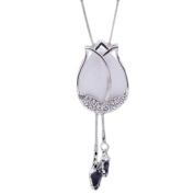 Fashion Sweater Pendants White Rose Long Sweater Chain Pendant Necklace Clothes Accessory