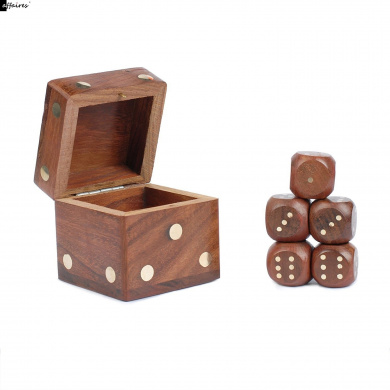 Game Dice Box With 5 Dice Set Wooden Sheesham Handcrafted by Affaires W-40151