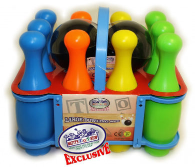 Matty's Toy Stop 10 Pin Multi-Colour Deluxe Plastic Bowling Set for Kids with Storage Rack - 12 Pieces Total (10 Pins & 2 Bowling Balls)