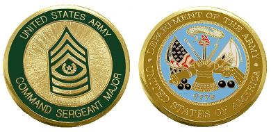 """Army ENLISTED RANKS - Command Sergeant Major """"E9'' Collectible Challenge Coin /Logo Poker / Lucky Chip/ Gift"""