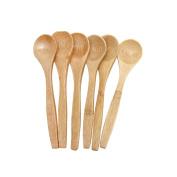 Kangnice 6 Pcs Ustensile en bois de bambou Outils de cuisine Spoon Spatula Mixing