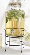 Elegant Home Beverage Drink Dispenser Durable Glass on Stand 5.7l with Spigot Includes Flavour Capsule infuser