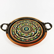 Traditional Turkish Hand Crafted Copper Coffee Tray 25cm Wide