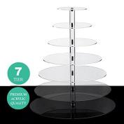 BalsaCircle 7 Tiers Clear Premium Crystal Acrylic Cupcake Stand