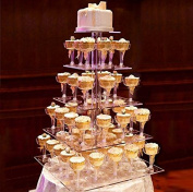 5 Tier Square HEAVY DUTY Acrylic Crystal Glass Cupcake Dessert Decorating Stand For Birthday Xmas Party Wedding