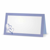 Hearts on Lilac and Blue Place Cards - TENT STYLE - 10 PACK - White Blank Front with Solid Colour Border - Placement Table Name Seating Stationery Party Supplies - Occasion or Dinner Event