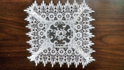 Square Doily with a Geometric Pattern with Flowers on Sheer Fabric and Lace, Size 20cm x 20cm
