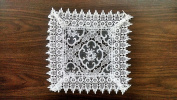 Square Doily with a Geometric Pattern with Flowers on Sheer Fabric and Lace, Size 41cm x 41cm