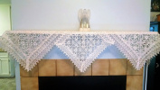 Fireplace Mantel Scarf with a Geometric Pattern with Flowers on Sheer Fabric and Lace, Size