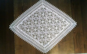 Diamond Table Runner with a Geometric Pattern with Flowers on Sheer Fabric and Lace, Size 120cm x 70cm