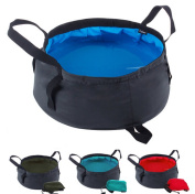 BAO CORE Outdoor Travel Camping Hiking Folding Water Bowl 8.5L Portable Washing Basin Bucket Water Storage Container Carrier Bag With Free Carrying Pouch for Fishing/Face Wash/Footbath/Pet Water Bowl etc, Random Colours