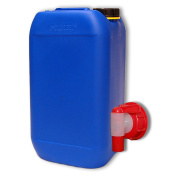 Can - plastic jerrican 15 L, container, blue colour, with cap and tap DIN 61