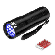 LE 12 LED UV Torch,Pet Urine and Stain Detector,UV Flashlight,Blacklight,395nm,3 AAA Batteries Included