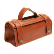 Dophee 1Pc Brown Leather Travel Pouch Case Shaving Brush & Razor Toiletry Bag Portable Type