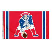 NFL New England Patriots Throwback Flag with Grommets, 0.9m x 1.5m, Red
