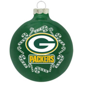 Green Bay Packers 6.7cm Painted Round Candy Cane Christmas Tree Ornament