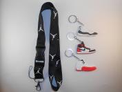 One Jordan Lanyard with Three Jordan Shoe keychains. New!!