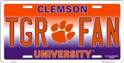 NCAA University of Clemson TGR FAN Tigers Car Licence Plate Novelty Sign
