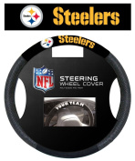 NFL Pittsburgh Steelers Poly-Suede Steering Wheel Cover Auto Accessories 38cm x 38cm