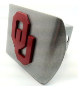 "University of Oklahoma Sooners ""Brushed Silver with ""Red OU"" Emblem"" Metal Trailer Hitch Cover Fits 5.1cm Auto Car Truck Receiver with NCAA College Sports Logo"