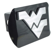 West Virginia Mountaineers Black Metal Trailer Hitch Cover with Chrome Metal Logo