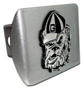 "University of Georgia Bulldogs ""Brushed Silver with Chrome ""BULLDOG"" Emblem"" Metal Trailer Hitch Cover Fits 5.1cm Auto Car Truck Receiver with NCAA College Sports Logo"